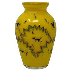Emmy Seyfried Munich Enameled Art Glass Vase, ca. 1920s