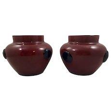 Pair of Bohemian/Czech Tango glass vase vases, ca. 1920s