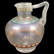 Very Rare Moser Iridescent Enameled Egyptian Styled Decor Ewer, ca. 1895