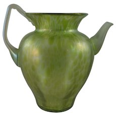 Loetz Bohemian Art Nouveau Glass Vase/Pitcher, Diana Cisele Decor, PN II-237, ca. 1900