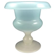 Stevens & Williams S&W Light Blue Jade Art Deco Glass Pedestal Urn/Vase Marked, ca. 1920s