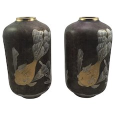 MCM Pair of Art Deco Glass Vases, enamel reduction technique, ca. 1960s