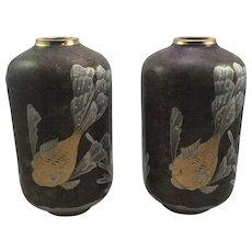 MCM Pair of Art Deco Glass Vases, enamel reduction technique, ca. 1960s