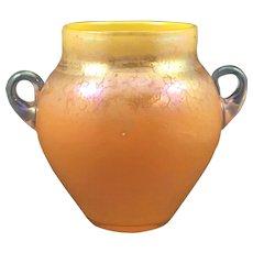 Mandarin Orange 2 Handled Oil Spot Tango Art Glass Vase, ca. 1920s