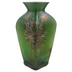Kralik Art Nouveau Jugendstil Glass Vase with inlaid decoration, ca. 1900