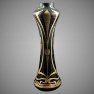 Josephine Glass Works Art Nouveau Jugendstil Glass Vase, Iridescent Cobalt with Gold Enamels, ca. 1900