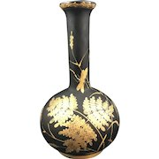 Harrach Bohemian Art Nouveau Enameled Basalt Glass Vase, ca. 1890