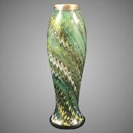 Rindskopf Cased Mottled Bohemian Glass Vase with Sterling Rim, London Hallmark, ca. 1926