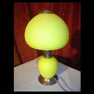Wonderful Yellow Glass Signed Bellova Boudoir Lamp