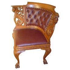 Incredible Quality Carved Oak Griffin Corner Chair