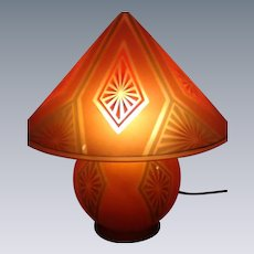 "Wonderful, Rare Glass, Art Deco Bellova ""GNOME"" Lamp"