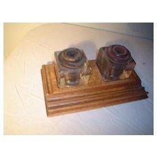 Quartersawn Oak Sengbusch Inkwell set