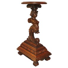 Highly Carved Oak Lady Plant Stand