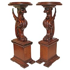 Carved Oak Winged Griffin Plant Stands