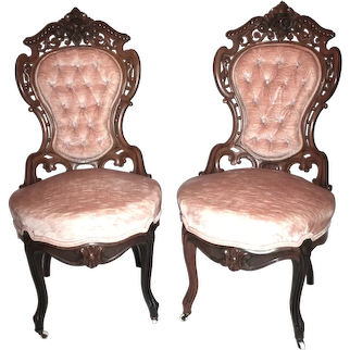Outstanding PAIR of Stanton Hall Meeks Rosewood Rococo Victorian Parlor Chairs ~ Circa 1850's ~ New York City