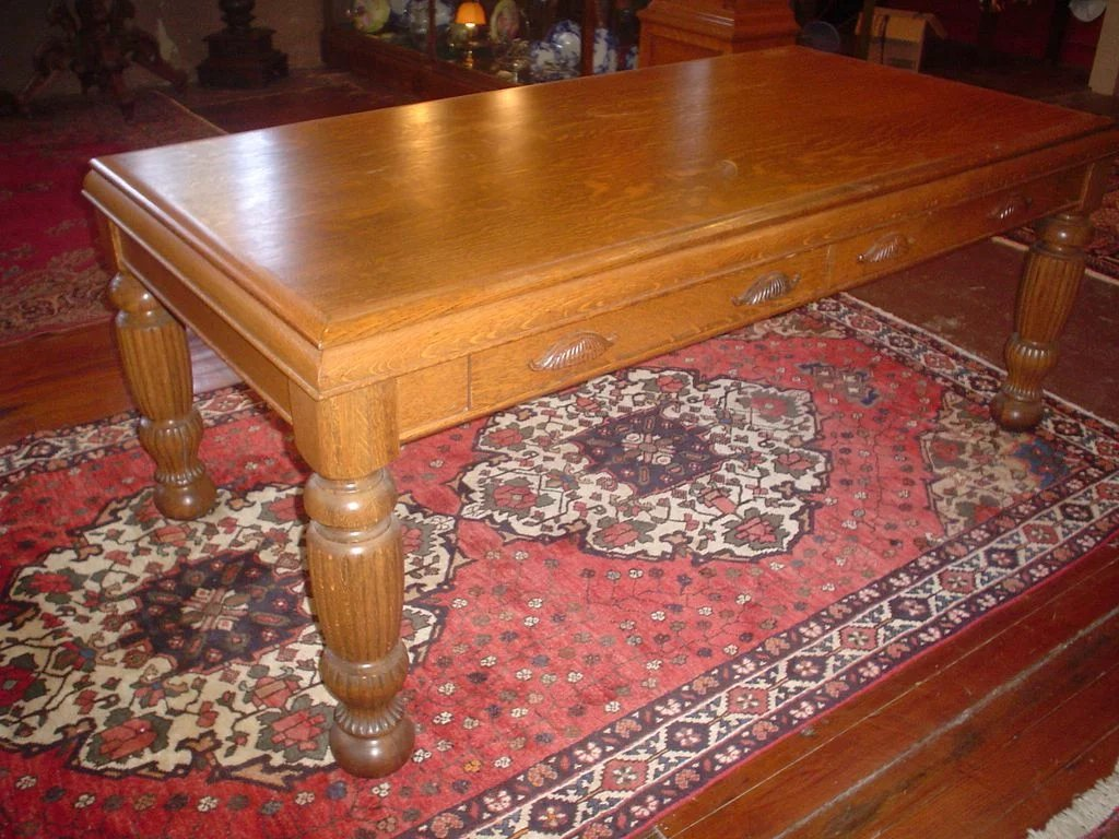 Quartersawn oak conference table b and c victorian for Transmutation table 85 items