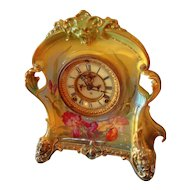 Ansonia Royal Bonn Open Escapement Porcelain Clock