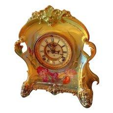 Ansonia Royal Bonn Open Escapement Porcelain Clock