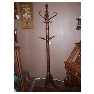 Heavily Carved Oak Claw Foot Hat Rack/Costumer