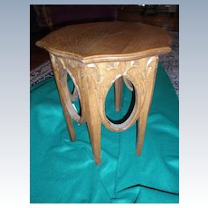 Carved Oak Six Sided Small Plant Stand