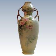 RARE Unusual Double Handled Handpainted Porcelain Vase w/ Roses