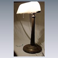 Emeralite Desk Lamp with Rare White  Shade
