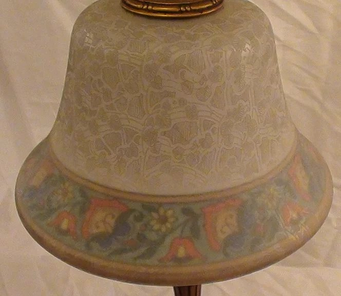 Bellova Boudoir Lamp With Painted And Etched Shade B And