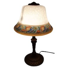 Bellova Boudoir Lamp with Painted and Etched Shade