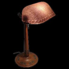 Fancy Emeralite Desk Lamp with Etched Shade