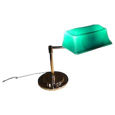 Great Form Emeralite Desk Lamp with Rare Form Etched Shade