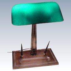 Emeralite #9 Lamp with Rare Base and Shade