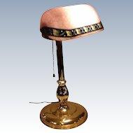 Wonderful Rare Form Emeralite/Bellova Desk Lamp Rare Pink Shade
