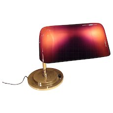 Rare Form Emeralite Lamp with Amber Shade