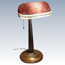 Fine Emeralite Desk Lamp with Etched and painted shade
