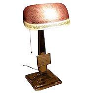 Emeralite Desk Lamp with Rare Shade and Calendar