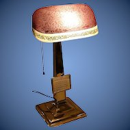 Emeralite Desk Lamp with Rare Shade and Calendar