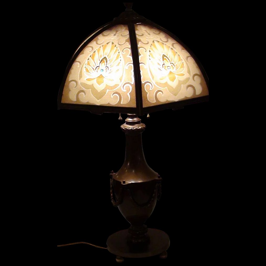 Bradley Amp Hubbard Reverse Painted Slag Glass Lamp B And