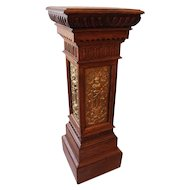 Carved Oak Plant Stand with Fine Brass Decorations
