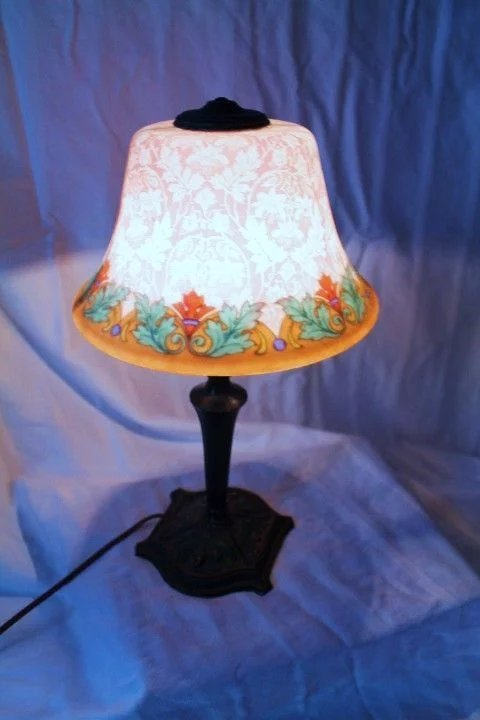 Fancy Etched Reverse Painted Bellova Boudoir Lamp B And