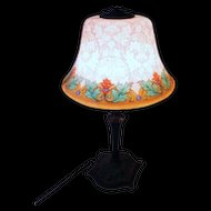 Fancy Etched Reverse Painted Bellova Boudoir Lamp