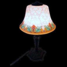 Fancy Etched Reverse Painted Bellova Boudoir Lamp