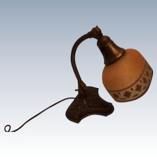 Fancy Reverse Painted Etched Shade Bellova Desk/Boudoir Lamp