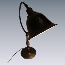Signed Emeralite Desk Lamp with Black Bell Shaped Shade.