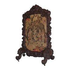 Magnificent American Oak Floral Carved Firescreen