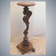 Oak Griffin Carved Plant Stand