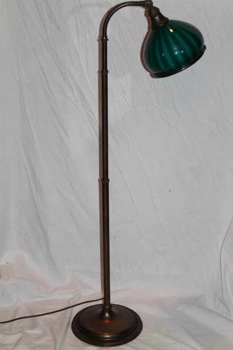 Emeralite Striped Shade Floor Lamp B And C Victorian Antiques Ruby Lane