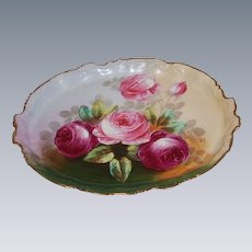 """GORGEOUS VICTORIAN ROSES"" Beautiful Antique Limoges France Dresser or Handled SERVING TRAY Vintage Heirloom China Painting on French Porcelain Hand Painted Artist Signed ""Vivrery"" Floral Art Decorative China Painting circa 1891-1914"