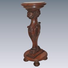 Carved Oak Griffin Plant Stand
