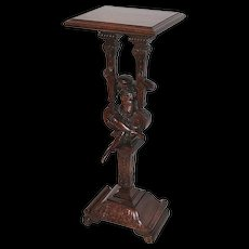 Heavily Carved Oak Romantic Suitor Plant Stand