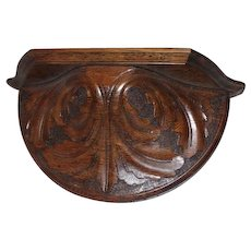 Heavy Carved oak Clock Shelf